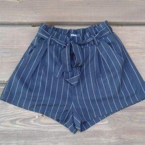 Active USA Striped Black Paperbag Shorts